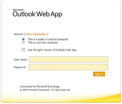 Login to Outlook Web App